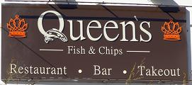 queen's fish and chips sign